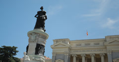 4K Video of The statue outside the Casón del Buen Retiro, Madrid, Spain Stock Footage