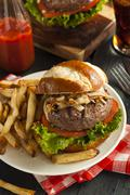 Gourmet hamburger with lettuce and tomato Stock Photos