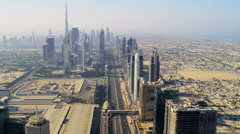 Aerial view city Metro  downtown Dubai Stock Footage