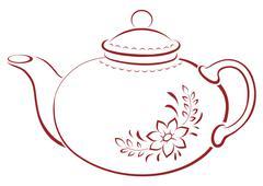 Teapot, pictogram - stock illustration
