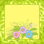 Background, flowers cosmos and frame Stock Illustration