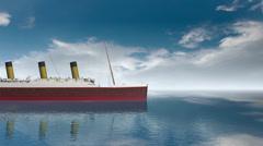 Ocean liner Titanic on a calm sea. Stock Footage