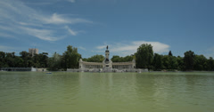 4K Video Of the Boating Lake And Monument at Parque Retiro Madrid, Spain Stock Footage