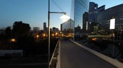 Night city skyline. skyscrapers cityscape. modern buildings Stock Footage