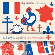 symbols of France, map, flag, slogan and two seamless patterns - stock illustration