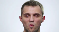 Portrait close up of smiling male face. Man face (emotions). Stock Footage