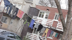 Clothes hanging on a clothes line Stock Footage