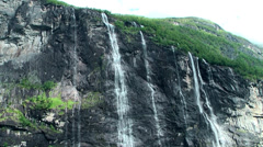 Europe Norway Geirangerfjord 005 seven sisters waterfalls seen from below Stock Footage