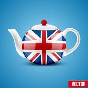 Background of English ceramic teapot with flag Great Britain. Stock Illustration