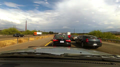 Dash cam traffic jam on I-10 accident trucks slow moving - 2 Stock Footage