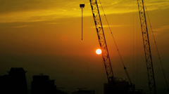 Construction Cranes Sunrise Silhouette Dubai Stock Footage