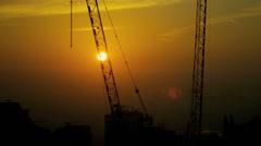 Time Lapse Building Cranes Working Sunrise Dubai United Arab Emirates Stock Footage
