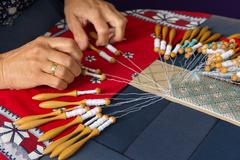 Making bobbin lace Stock Photos