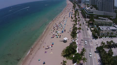 Stock Video Footage of Fort Lauderdale Beach aerial A1A