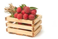 fresh lychees with leaves in crate - stock photo