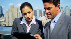 Handshake on business meeting management team using tablet on rooftop - stock footage