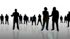 Business men meeting silhouettes animation - 1080p Stock Footage
