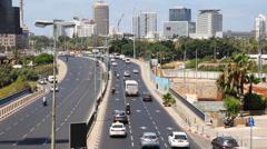 Traffic on street in Tel Aviv Stock Footage