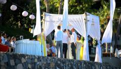 THAILAND, KOH SAMUI, JULY 2.2014: Bride and groom take an oath of loyalty to Stock Footage