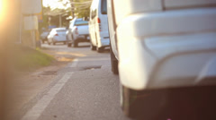 Traffic congestion on the island of Samui, Thailand, and sunlight. Video Stock Footage