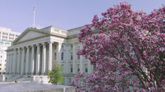 Stock Video Footage of US Treasury Department with cherry blossom