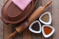 crock and spice - stock photo