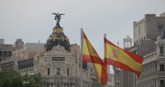 4K Video of two Spanish flags in front of the Metropolis Building, Madrid, Spain Stock Footage