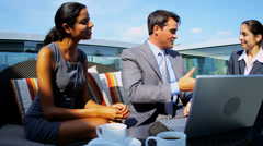 Handshake of diverse finance managers have information outdoor meeting - stock footage