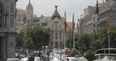 4K Video of the Metropolis Building with traffic passing, Madrid, Spain Stock Footage
