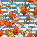 Stock Illustration of Seamless background with Sea Shells and fish