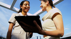 Handshake of multi ethnic female business team closing new contract - stock footage