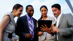 Handshake of diverse management communication finance funds New York office - stock footage