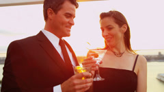 Happy Caucasian woman and man toasting and chilling at cocktail party - stock footage
