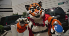 Colorful Furry in Costume for Anthrocon Stock Footage