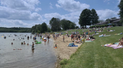 4K Lake Arthur Beach Goers Stock Footage