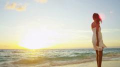 Latin American Girl Sunset Enjoying Island Vacation - stock footage