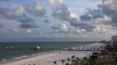 Looking down at Clearwater beach, pier, resorts Stock Footage
