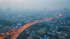Bangkok Traffic in Smog Stock Footage