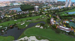 Aerial buildings on golf course 4 Stock Footage