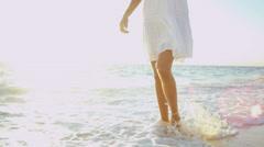 Legs Feet Girl Walking Ocean Shallows Stock Footage