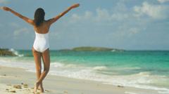 Girl Wearing Swimsuit Walking Island Beach - stock footage