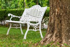 a white bench - stock photo