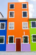 houses painted in bright colors - stock photo