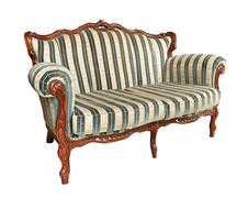 Antique velvet couch Stock Photos