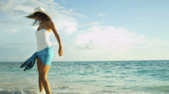 Girl in White Swimsuit Paradise Beach - stock footage