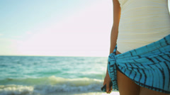 Close Up Lower Body Beach Girl Wearing Swimsuit - stock footage