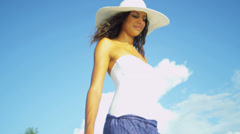Close Up Hispanic Beach Girl Stock Footage