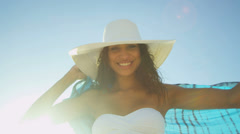 Close Up Hispanic Girl Island Beach Sunset Stock Footage