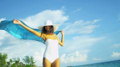 Carefree Girl Loving Island Lifestyle Stock Footage