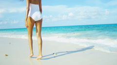 Stock Video Footage of Legs Beautiful Girl Walking Barefoot Beach